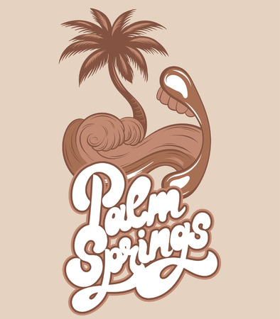 Palm springs. Vector hand drawn illustration of mouth with sea wave and palm instead tongue isolated. Creative tattoo artwork. Template for card, poster, banner, print for t-shirt, pin, badge, patch. 向量圖像