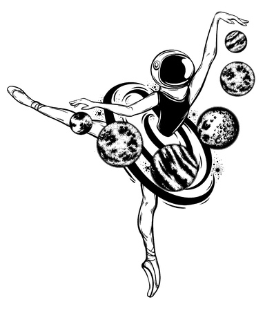 Vektor handgezeichnete Illustration der Ballerina im Weltraumhelm mit Planeten isoliert. Kreatives Tattoo-Kunstwerk. Vorlage für Karte, Poster, Banner, Druck für T-Shirt, Pin, Abzeichen, Patch.