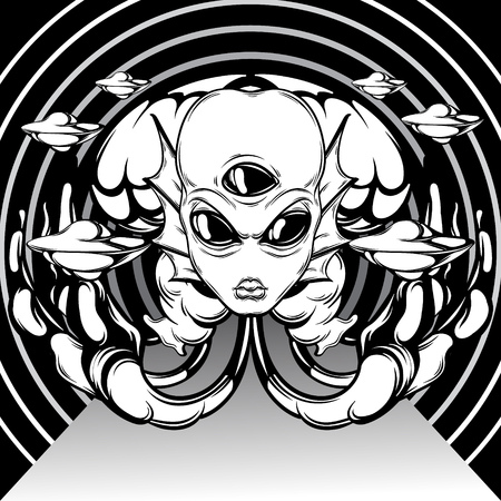 Vector hand drawn illustration of angry alien with three eyes, tentakles and flying saucers . Creative tattoo artwork. Template for card, poster, banner, print for t-shirt, pin, badge, patch. 向量圖像