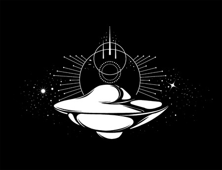 Vector hand drawn illustration of flying saucer isolated . Creative tattoo artwork. Template for card, poster, banner, print for t-shirt, pin, badge, patch.