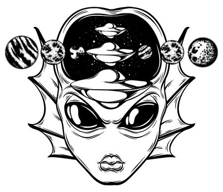 Vector hand drawn illustration of angry alien with flying saucer and planets isolated . Creative tattoo artwork. Template for card, poster, banner, print for t-shirt, pin, badge, patch. Çizim