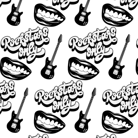 Vector pattern with hand drawn illustration of guitar, mouth and handwritten lettering . Template for card, poster, banner, print for t-shirt, pin, badge, patch.