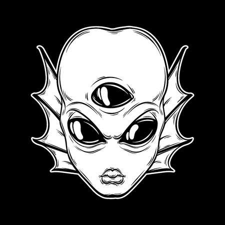 Vector hand drawn illustration of angry alien with three eyes isolated . Creative tattoo artwork. Template for card, poster, banner, print for t-shirt, pin, badge, patch. 向量圖像