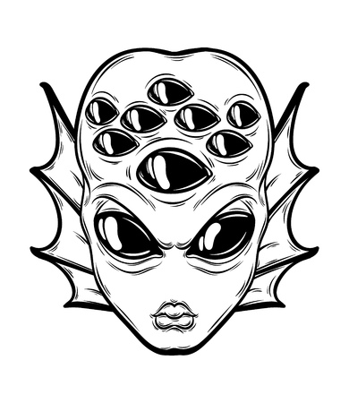 Vector hand drawn illustration of angry alien with many eyes isolated . Creative tattoo artwork. Template for card, poster, banner, print for t-shirt, pin, badge, patch.