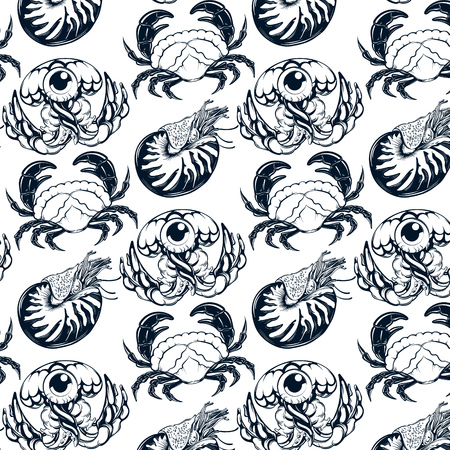 Vector pattern with hand drawn illustration of jelly fish, crab, nautilus . Template for card, poster, banner, print for t-shirt, pin, badge, patch. 向量圖像