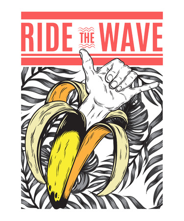 Ride the wave. Vector pattern with hand drawn illustration of banana with shaka hand isolated. Creative tattoo artwork. Template for card, poster, banner, print for t-shirt, pin, badge, patch.