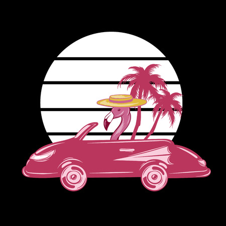 Vector hand drawn illustration of flamingo in retro car with palms isolated. Creative tattoo artwork . Template for card, poster, banner, print for t-shirt, pin, badge, patch.