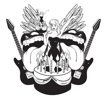Vector hand drawn illustration of pretty girl in cake with mouths, guitars, wings . Creative tattoo artwork. Template for card, poster, banner, print for t-shirt, pin, badge, patch.