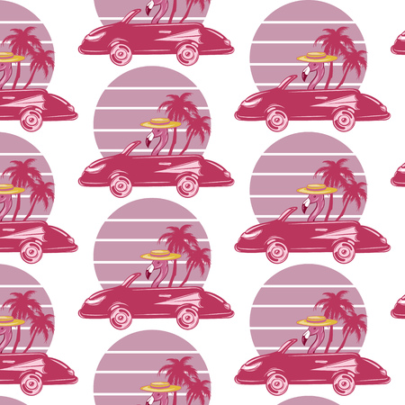 Vector pattern with hand drawn illustration of flamingo in retro car with palms isolated. Creative tattoo artwork . Template for card, poster, banner, print for t-shirt, pin, badge, patch. 向量圖像