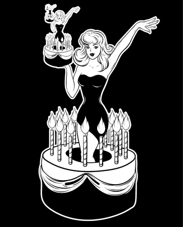 Vector hand drawn illustration of pretty girl in cake . Creative tattoo artwork. Template for card, poster, banner, print for t-shirt, pin, badge, patch.