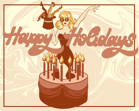 Happy holidays. Vector hand drawn illustration of pretty girl in cake . Template for card, poster, banner, print for t-shirt, pin, badge, patch.