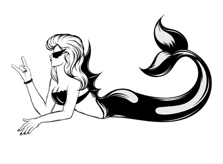 Vector hand drawn trendy illustration of mermaid isolated . Crteative tattoo artwork. Template for card, poster, banner, print for t-shirt, pin, badge, patch.