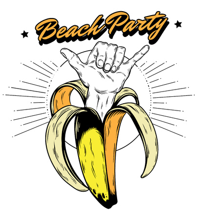 Beach party. Vector hand drawn illustration of banana with shaka hand . Creative artwork. Template for card, poster, banner, print for t-shirt, pin, badge, patch.