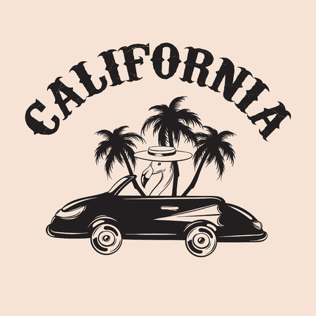 California. Vector hand drawn illustration of flamingo in retro car with palms isolated. Creative tattoo artwork . Template for card, poster, banner, print for t-shirt, pin, badge, patch.