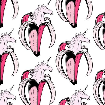 Vektormuster mit Hand gezeichneter Illustration der Banane mit dem Kopf des Einhorns lokalisiert. Kreatives Tattoo-Kunstwerk. Vorlage für Karte, Poster, Banner, Druck für T-Shirt, Pin, Abzeichen, Patch.