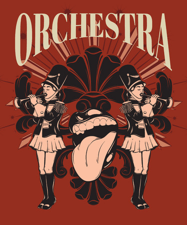 Orchestra. Vector hand drawn illustration of girls with trumpet and baroque frame isolated . Creative tattoo artwork. Template for card, poster, banner, print for t-shirt, pin, badge, patch.