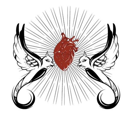 Vector hand drawn illustration of human heart with burds isolated . Creative tattoo artwork. Template for card, poster, banner, print for t-shirt, pin, badge, patch.