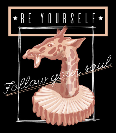 Be yourself. Vector hand drawn illustration of giraffe in the old collar . Template for card, poster, banner, print for t-shirt, pin, badge, patch.