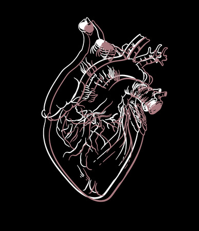 Vector hand drawn illustration of human heart isolated . Creative tattoo artwork. Template for card, poster, banner, print for t-shirt, pin, badge, patch.