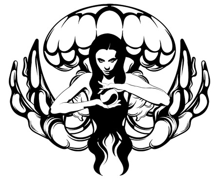 Vector hand drawn illustration of witch with crystal ball and jelly fish. Creative tattoo artwork. Template for card, poster, banner, print for t-shirt, pin, badge, patch. Illustration