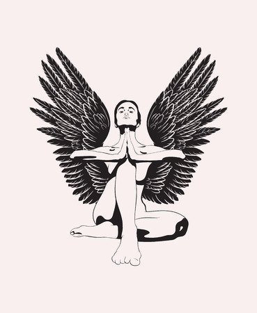 Vector hand drawn illustration of woman with wings in yoga pose. Creative artwork. Template for card, poster, banner, print for t-shirt, pin, badge, patch. Ilustracje wektorowe