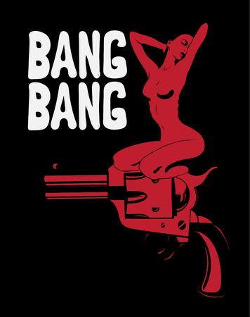 Bang Bang. Vector illustration dessinée à la main d'une fille assise sur le pistolet. Oeuvre créative avec lettrage. Modèle de carte, affiche, bannière, impression pour t-shirt, épingle, badge, patch. Vecteurs