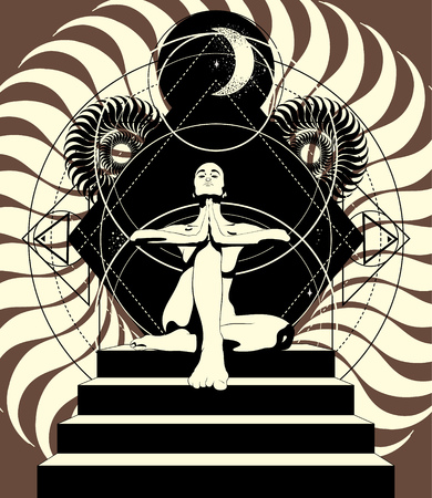 Vector hand drawn illustration of woman in yoga pose on stairway . Creative artwork. Template for card, poster, banner, print for t-shirt, pin, badge, patch. Standard-Bild - 113358812