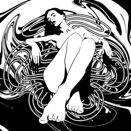 Vector illustration dessinée à la main de jolie fille avec une texture liquide et un cadre. Oeuvre de tatouage créatif. Modèle de carte, affiche, bannière, impression pour t-shirt, épingle, badge, patch. Vecteurs