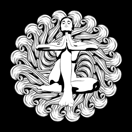 Vector hand drawn illustration of woman in yoga pose with circle ornament. Creative artwork. Template for card, poster, banner, print for t-shirt, pin, badge, patch.