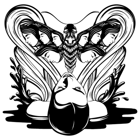 Vector hand drawn illustration of lying girl with moth and splashes . Creative tattoo artwork. Template for card, poster, banner, print for t-shirt, pin, badge, patch.