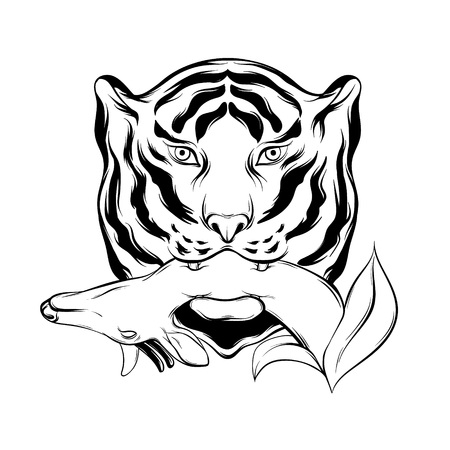 Vector hand drawn illustration of tiger with deer in his mouth isolated. Creative tattoo artwork. Template for card, poster. banner, print for t-shirt, pin, badge, patch.