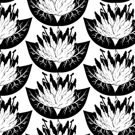 Vector pattern with hand drawn illustration of water lily . Template for card, poster, banner, print for t-shirt, pin, badge, patch.