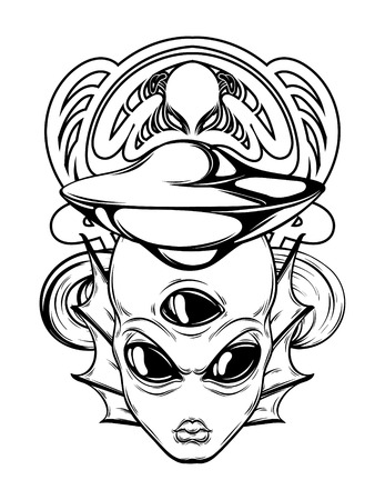 Vector hand drawn illustration of alien with frame isolated. Creative tattoo artwork. Template for card, poster, banner, print for t-shirt, pin, badge, patch.
