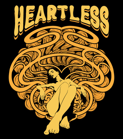 Heartless. Vector hand drawn illustration of pretty woman with abstract ornament and handwritten lettering . Creative tattoo artwork. Template for card, poster, banner, print for t-shirt, pin, badge.