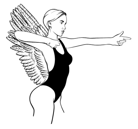 Vector hand drawn illustration of shooting woman with wings isolated. Creative tattoo artwork. Template for card, poster. banner, print for t-shirt, pin, badge, patch.
