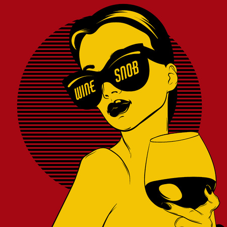 Wine snob. Vector hand drawn realistic illustration of woman with glass of wine isolated. Surrealistic tattoo artwork. Template for card, poster. banner, print for t-shirt, pin, badge, patch.