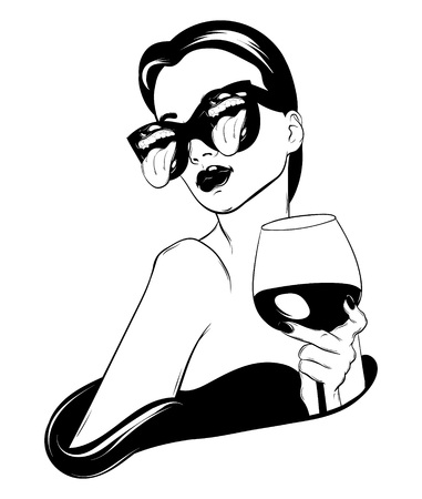 Vector hand drawn realistic illustration of woman with glass of wine isolated. Surrealistic tattoo artwork. Template for card, poster. banner, print for t-shirt, pin, badge, patch.