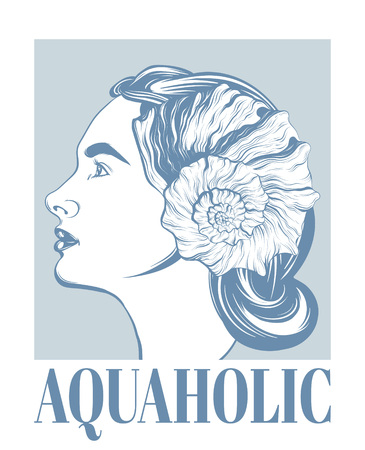 Aquaholic. Vector hand drawn illustration of girl with seashell isolated. Creative tattoo artwork. Template for card, poster. banner, print for t-shirt, pin, badge, patch.