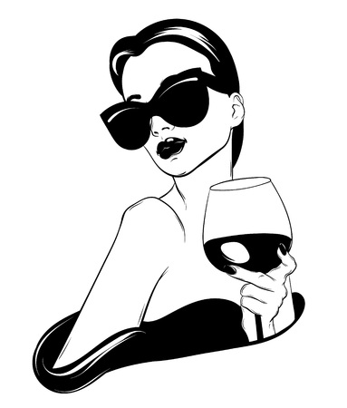 Vector hand drawn realistic illustration of woman with glass of wine isolated. Creative tattoo artwork. Template for card, poster. banner, print for t-shirt, pin, badge, patch. Illustration