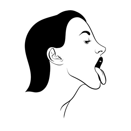 Vector hand drawn realistic illustration of woman with tongue isolated. Creative tattoo artwork. Template for card, poster. banner, print for t-shirt, pin, badge, patch. Illustration