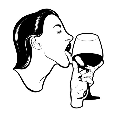Vector hand drawn realistic illustration of woman with glass of wine isolated. Creative tattoo artwork. Template for card, poster. banner, print for t-shirt, pin, badge, patch. Иллюстрация