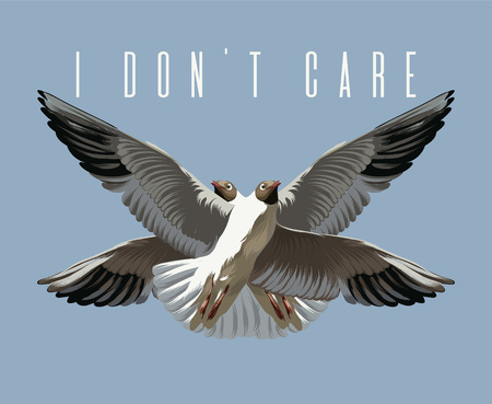 I don't care. Vector hand drawn illustration of seagulls isolated. Creative artwork. Template for card, poster. banner, print for t-shirt, pin, badge, patch.