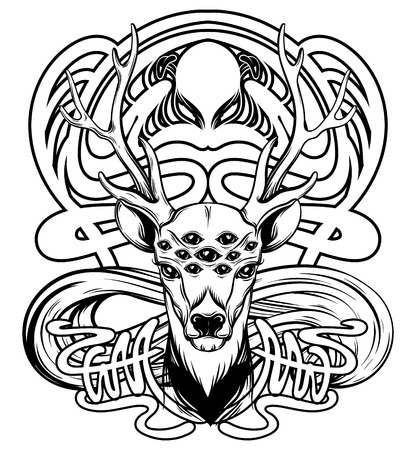 Vector hand drawn illustration of deer with floral frame isolated. Surrealistic tattoo artwork. Template for card, poster. banner, print for t-shirt, pin, badge, patch.