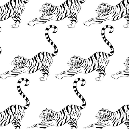 Vector pattern with hand drawn illustration of stretching tiger . Template for card, poster. banner, print for t-shirt, pin, badge, patch. Illusztráció