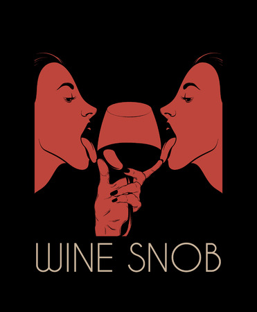 Wine snob. Vector hand drawn illustration of pretty girls licking wineglass isolated. Creative artwork. Template for card, poster. banner, print for t-shirt, pin, badge, patch. Stok Fotoğraf - 116861387