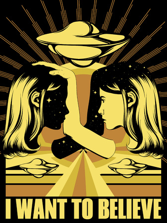 Vector hand drawn illustration of twins with flying saucer . Creative tattoo artwork. Template for card, poster. banner, print for t-shirt, pin, badge, patch.