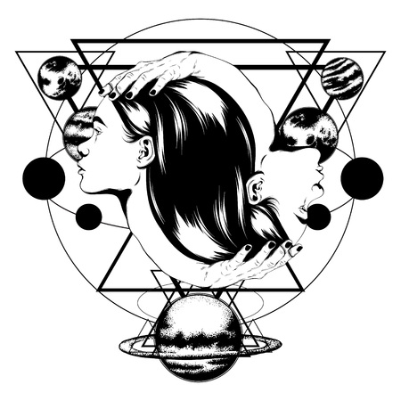 Vector hand drawn illustration of female heads with hands isolated. Surreal tattoo artwork. Template for card, poster. banner, print for t-shirt, pin, badge, patch.