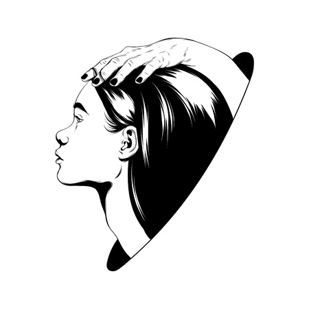 Vector hand drawn illustration of female heads with hands isolated. Surreal tattoo artwork. Template for card, poster. banner, print for t-shirt, pin, badge, patch. Vector Illustratie
