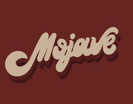 Mojave. Vector hand drawn lettering isolated. Template for card, poster. banner, print for t-shirt, pin, badge, patch.