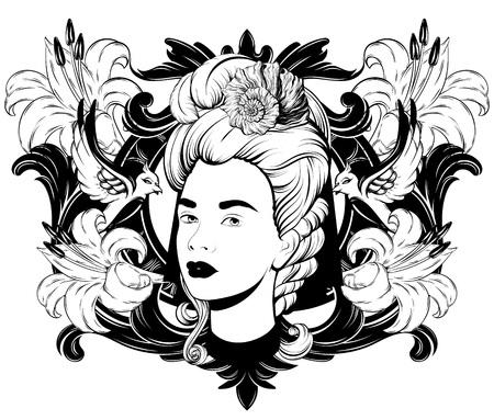Illustrazione disegnata a mano di vettore di bella donna isolata. Opera d'arte del tatuaggio creativo. Modello per carta, poster. banner, stampa per t-shirt, spilla, badge, toppa.